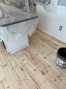 01 Eastern Mountain White Pine Stained with Dura Seal English Chestnut