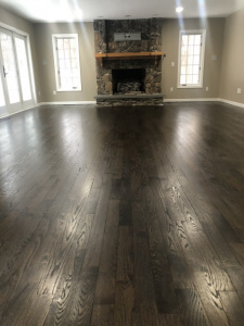 01 DuraSeal Jacobean stain on red oak with satin oil finish.